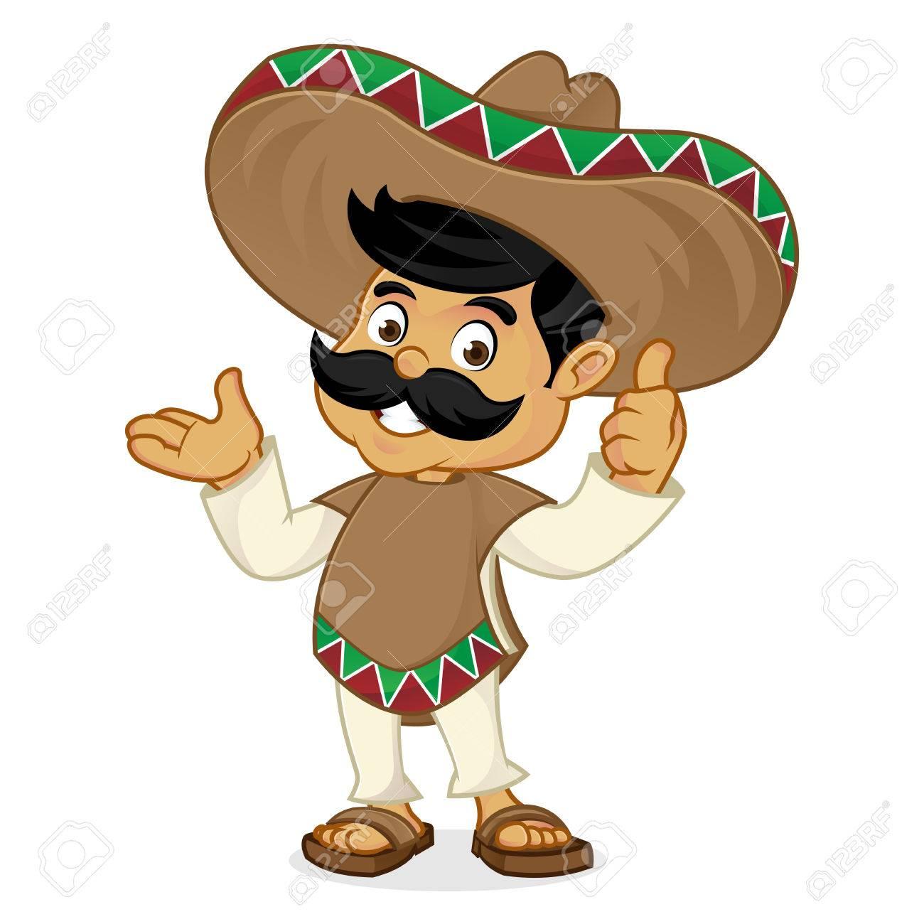 Foto de archivo - Presentación de dibujos animados hombre mexicano aislado  en fondo blanco 570e3b98d4c