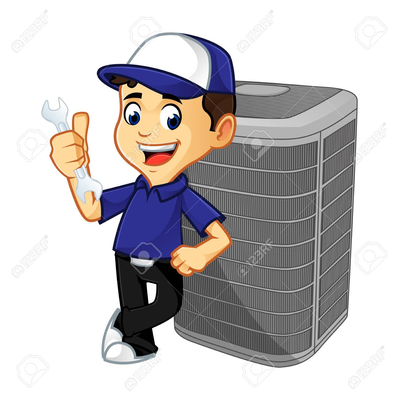 Hvac Cleaner or technician leaning on air conditioner cartoon illustration, can be download in vector format for unlimited image size - 125119654