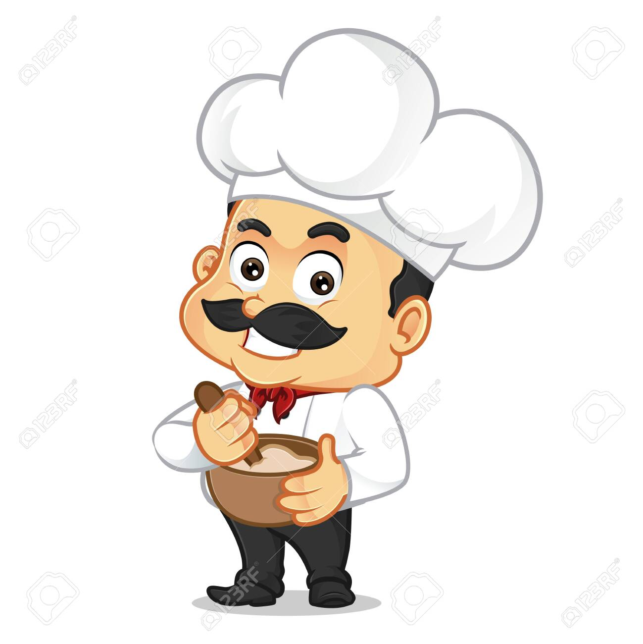 Chef Cartoon Cooking Isolated In White Background Royalty Free Cliparts Vectors And Stock Illustration Image 142599511