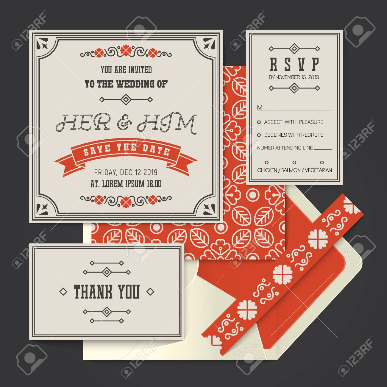 Vintage Retro Wedding Invitation Card Template Set