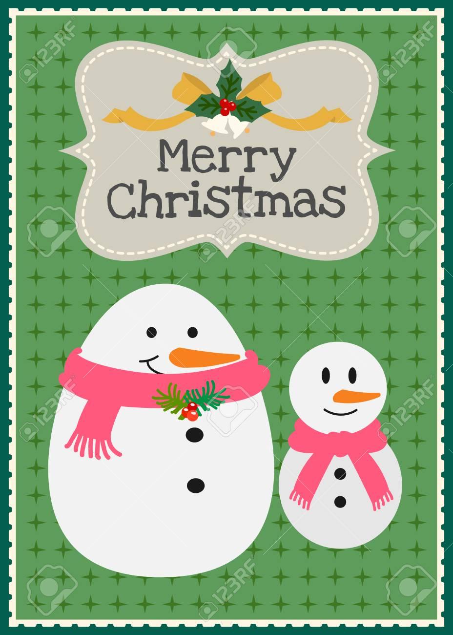 Tarjeta De Invitación Familiar Navidad Muñeco De Nieve