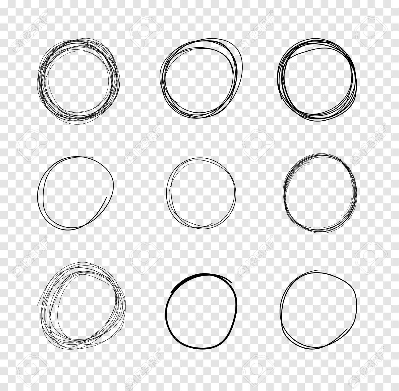 Vector Hand Drawn Circles Scribble Lines Drawings On Isolated