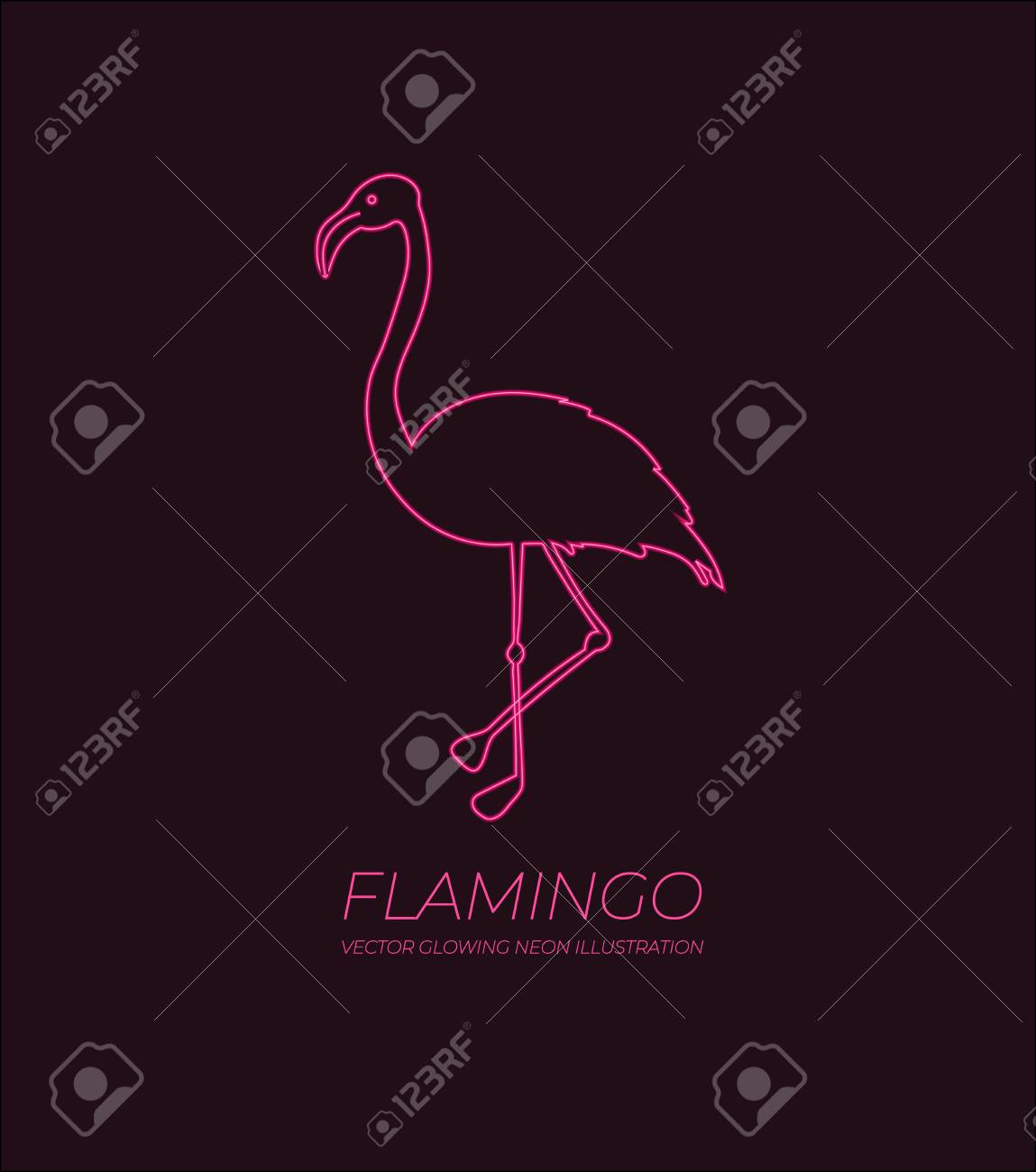 Vector Shining Pink Flamingo Neon Sign With Text Sample Abstract
