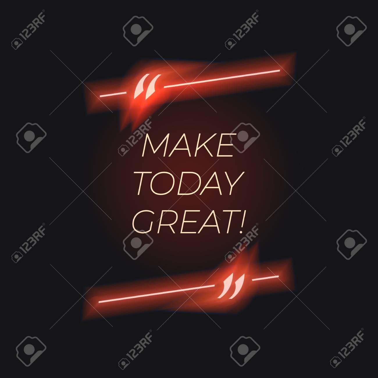 Vector Neon Lettering In Glowing Quote Frame Red Color Make