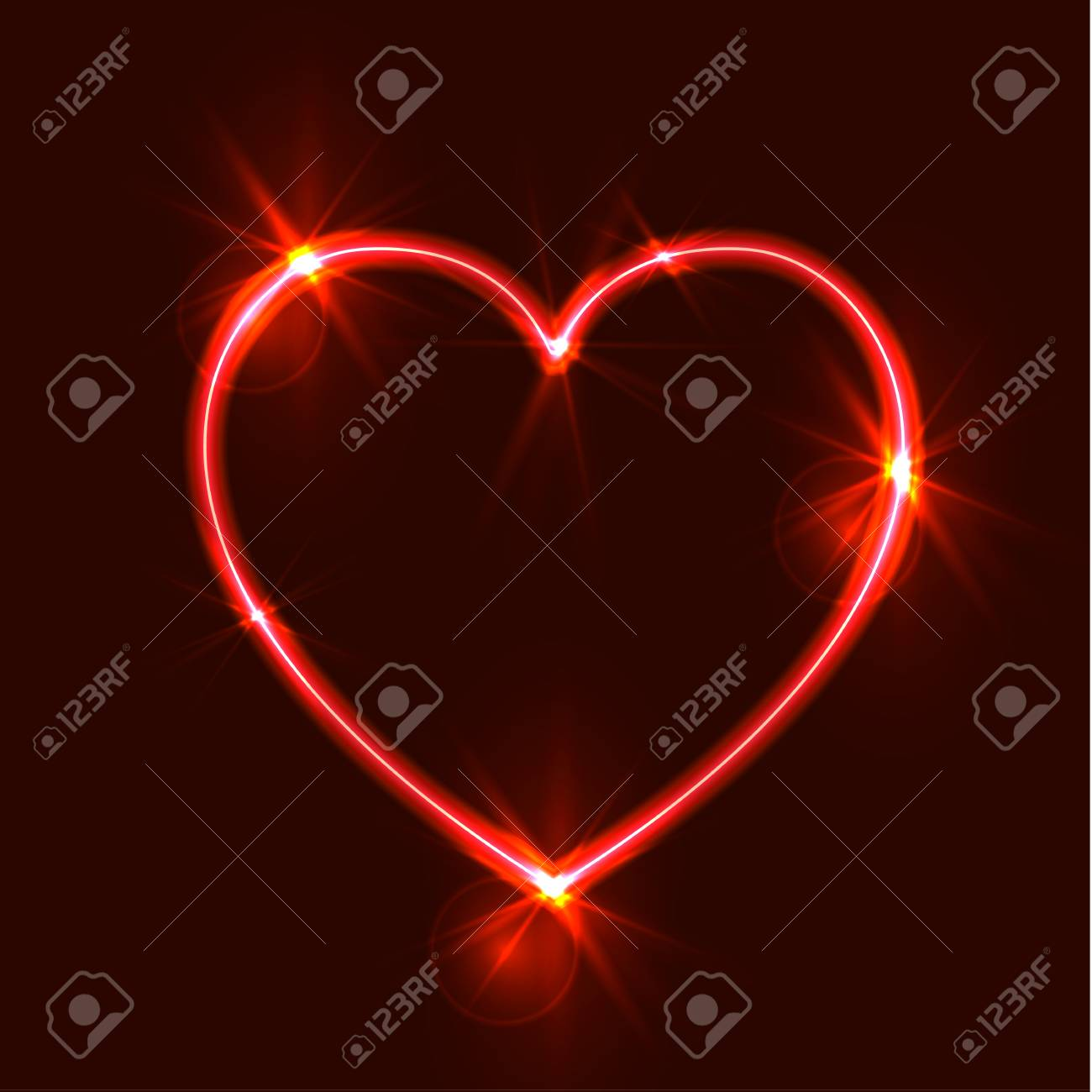 vector glowing heart glares abstract light bright red love symbol