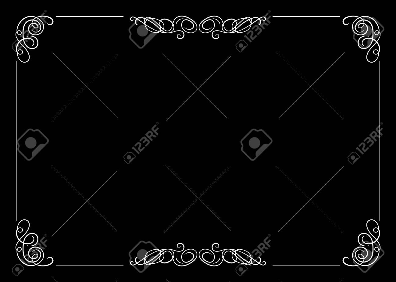 Vector Filigree Frame, Calligraphic Design Element, Old Movie Vintage Style. - 108052479