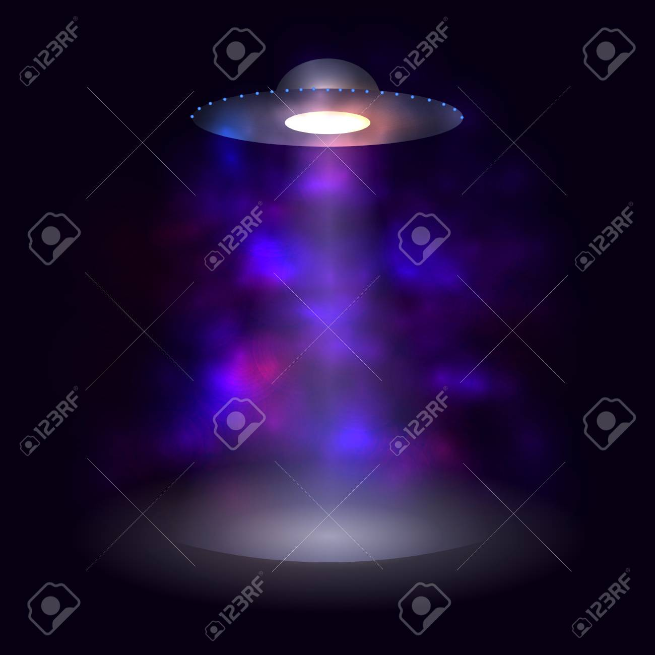 Vector Spaceship, Abstract Glowing Fog, Aliens, Shining Background. - 108408254