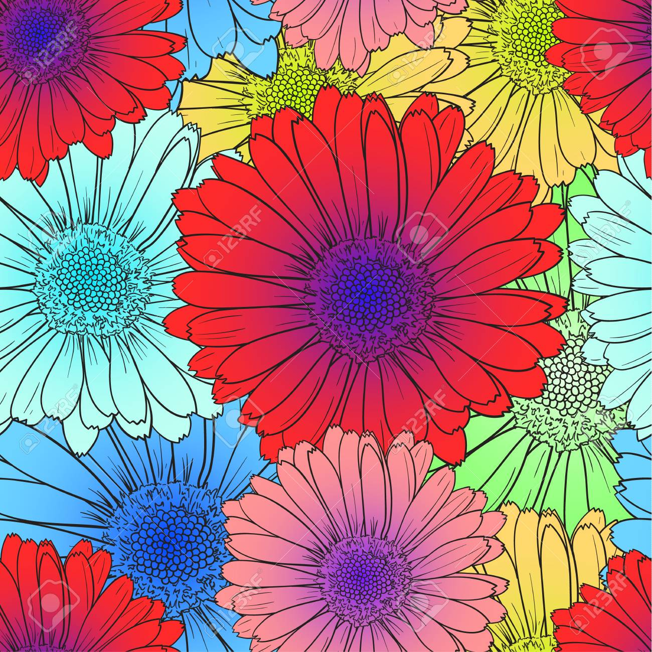 Vector Seamless Pattern Bright Colored Flowers Red Blue Flower Royalty Free Cliparts Vectors And Stock Illustration Image 108408256