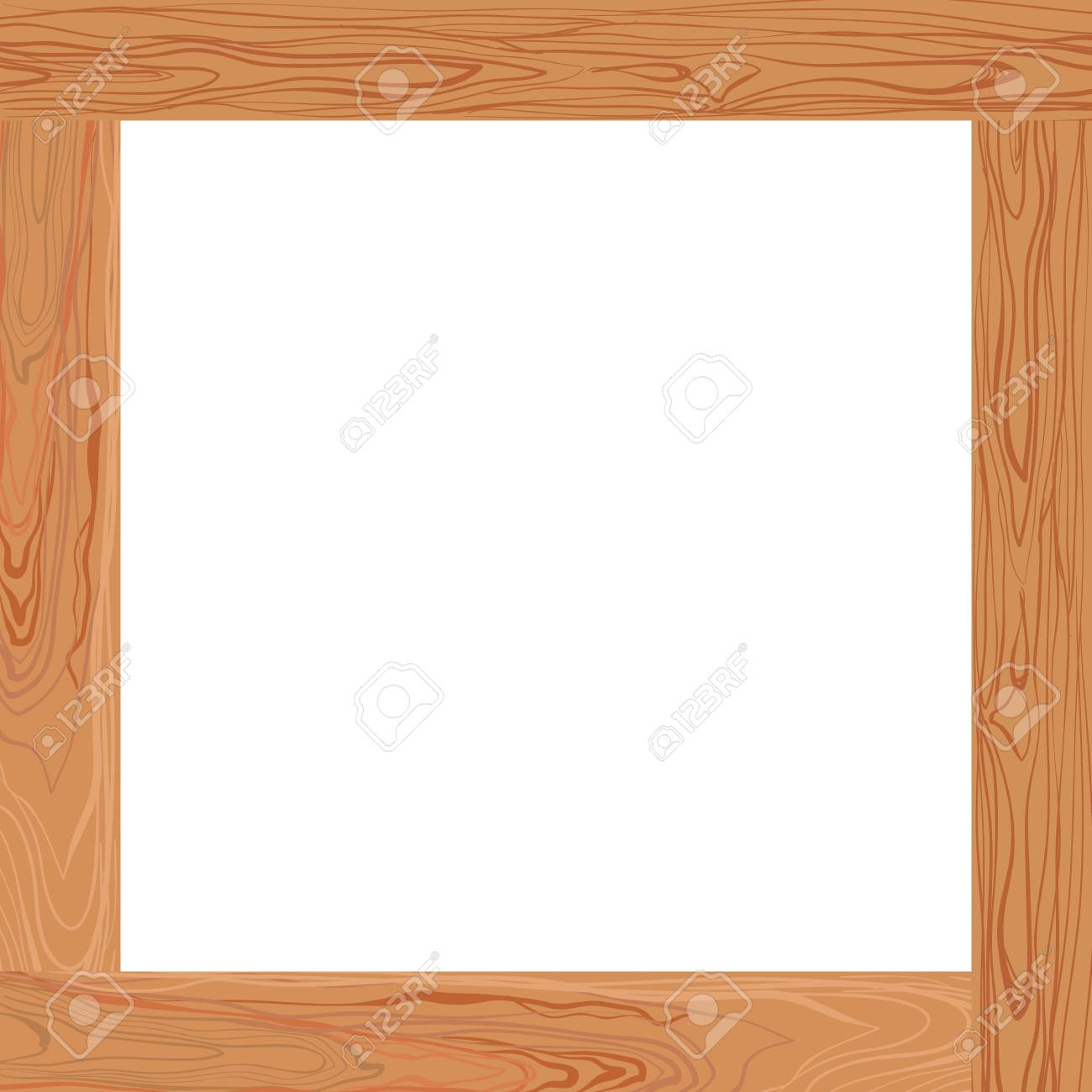 Vector Light Brown Wooden Frame Blank Border Template Royalty Free