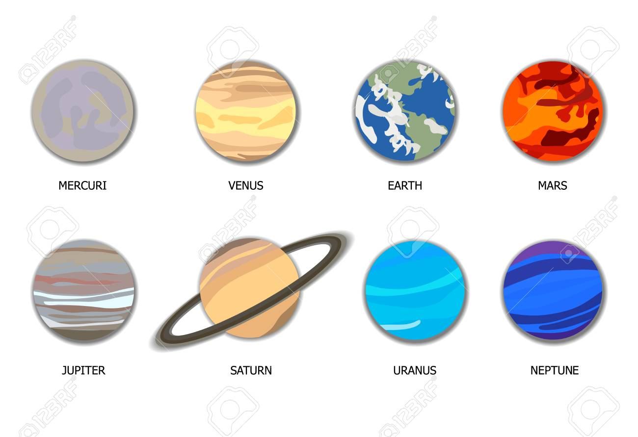 Vector Solar System 8 Planets, Flat Cartoon Objects with Shadows Isolated on White Background. - 109236030