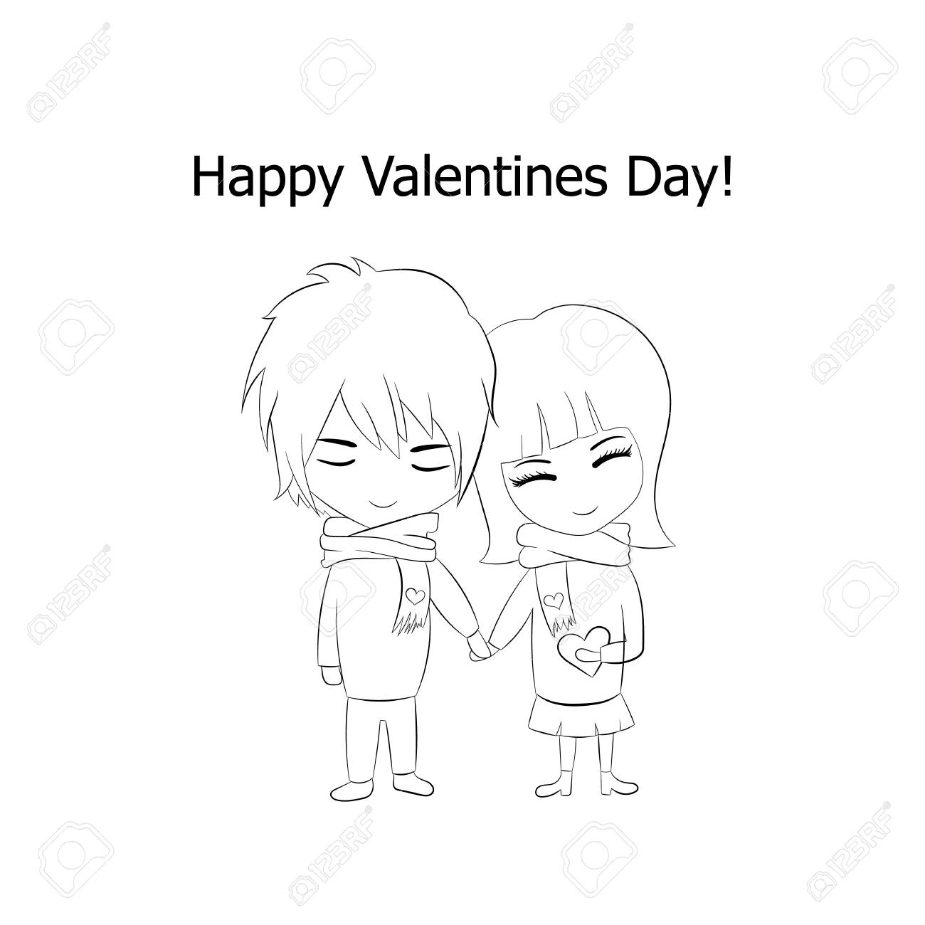 Vector outline couple in love happy valentines day cartoon