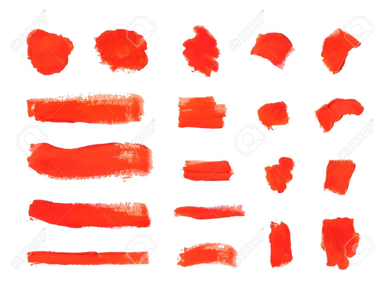 Vector Brush Strokes, Textured Red Paint Smears Isolated on White Background, Design Elements Collection. - 123194022