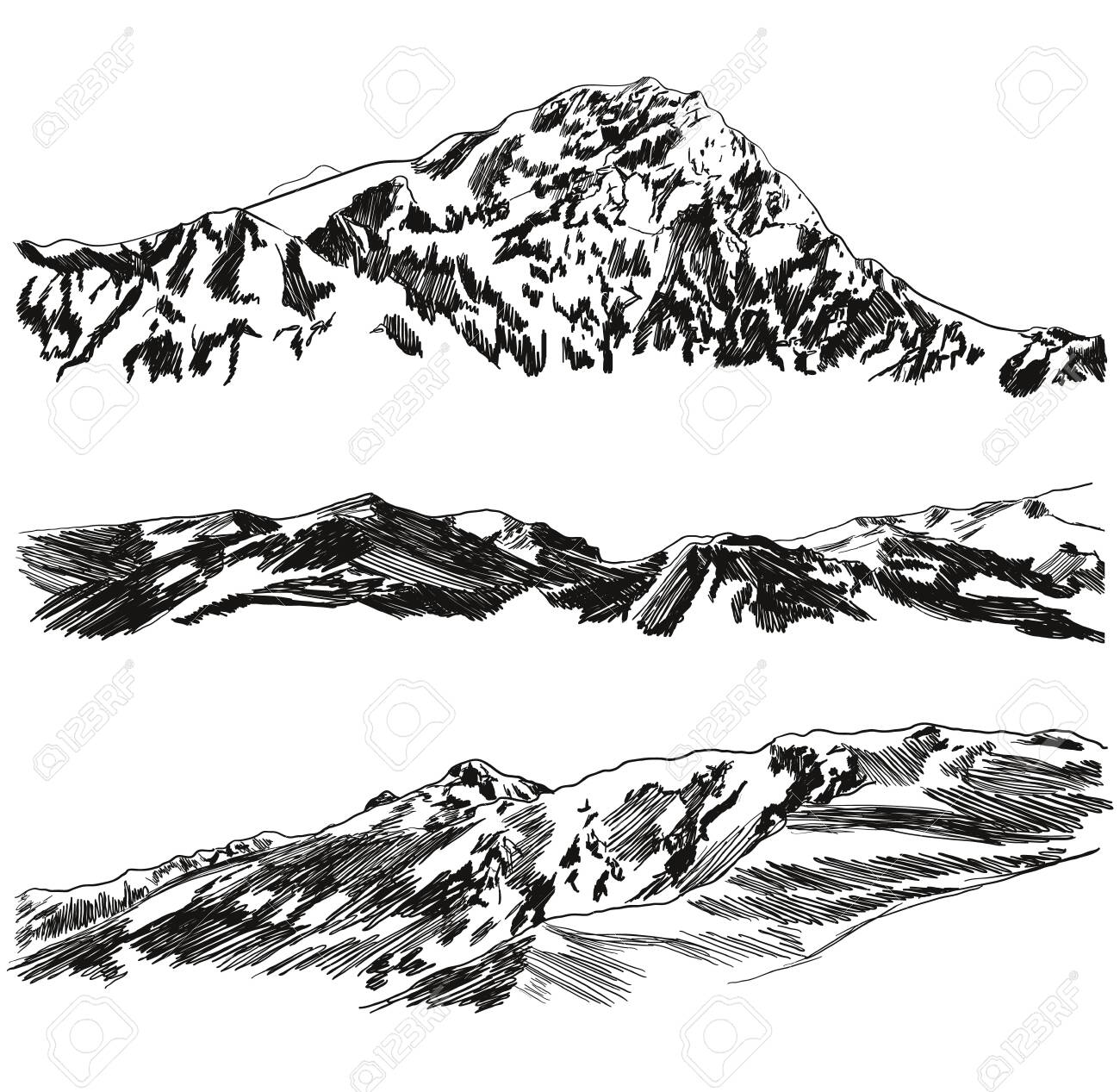 Vector Set of Hand Drawn Mountains Sketches, Black Scribble Freehand Drawings Isolated on White Background, Wild Nature Illustration. - 133290676