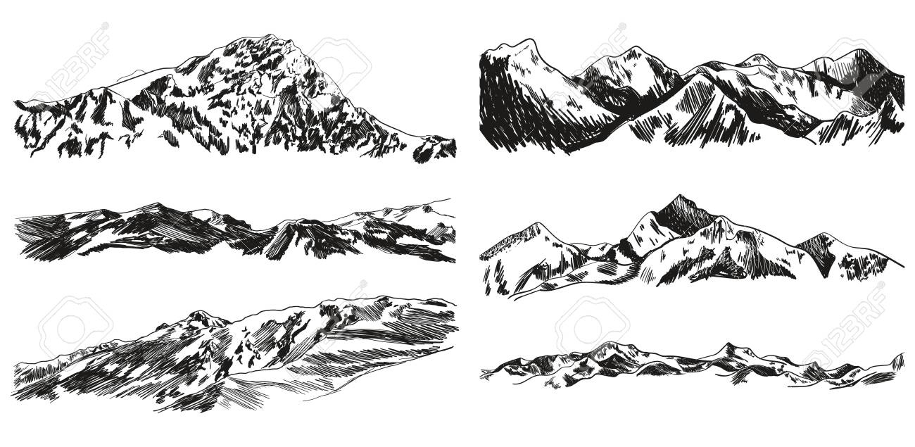 Vector Collection of Hand Drawn Mountains and Hills Isolated on White Background, Black Scribble Drawings, Vintage Illustrations. - 133290677