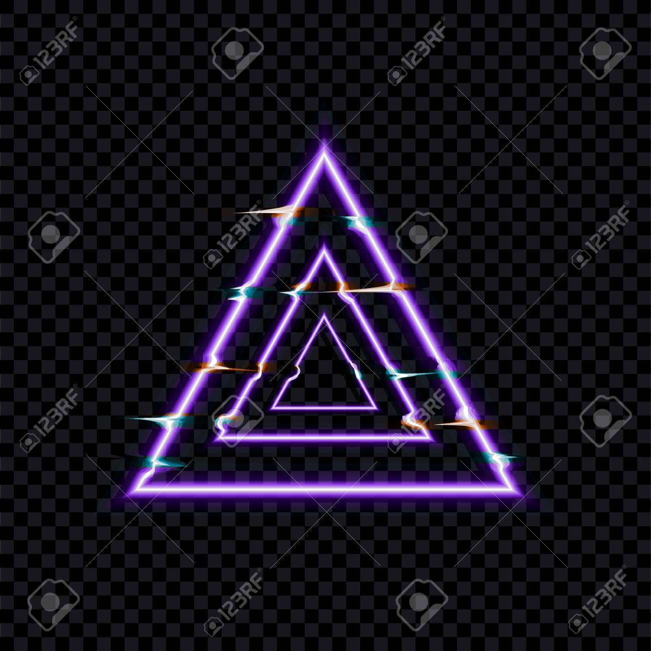 Vector Glitch Effect, Glows Distorted Triangles, Neon Icon Template Isolated on Dark Transparent Background. - 131626788