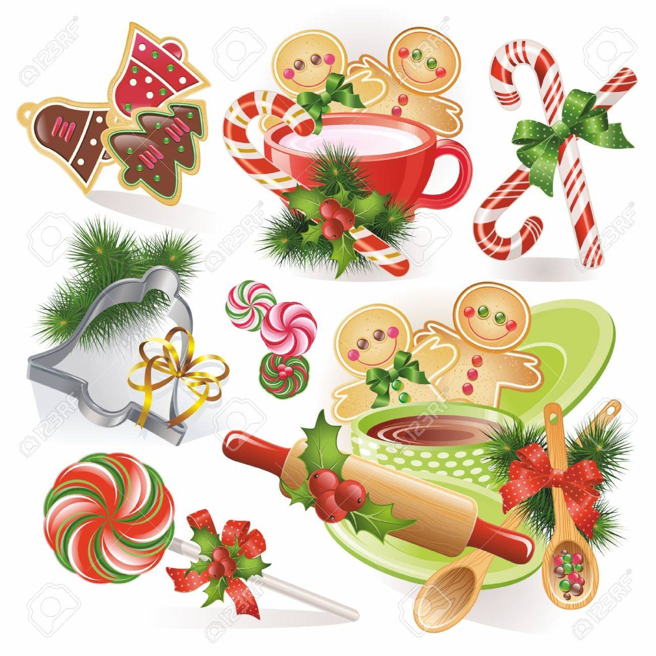 Christmas gingerbreads candies and cookies Stock Vector - 11663027