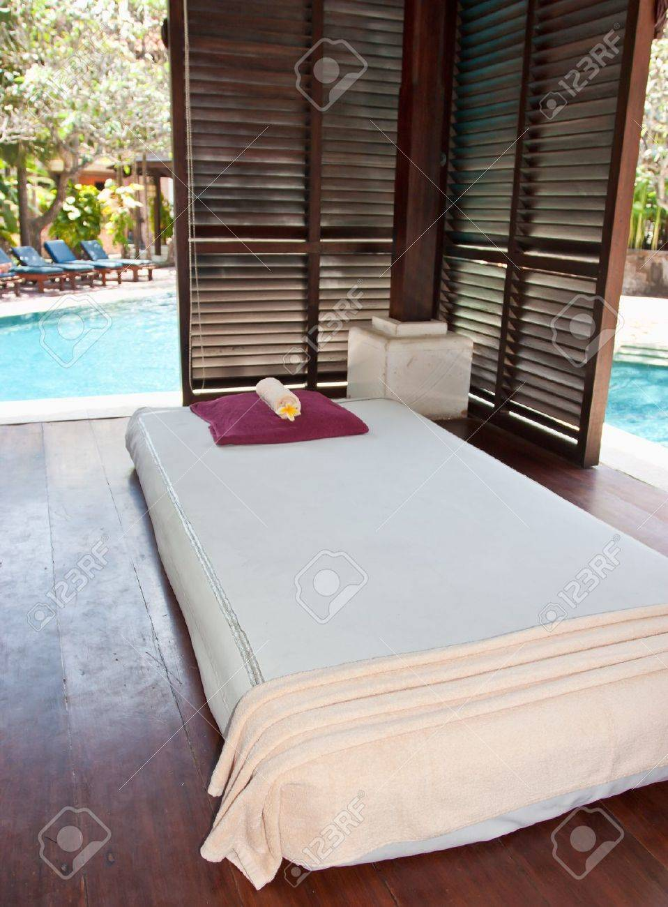 Beds for thai massage with pillows on them Stock Photo - 10668859