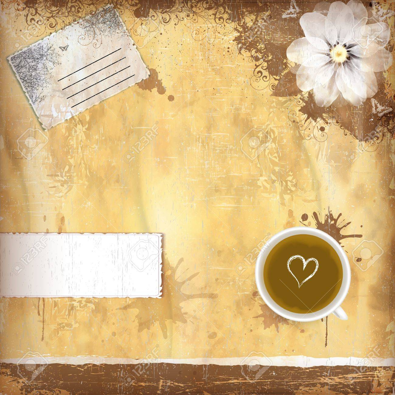 Vintage background with old paper and coffee Stock Vector - 11928982