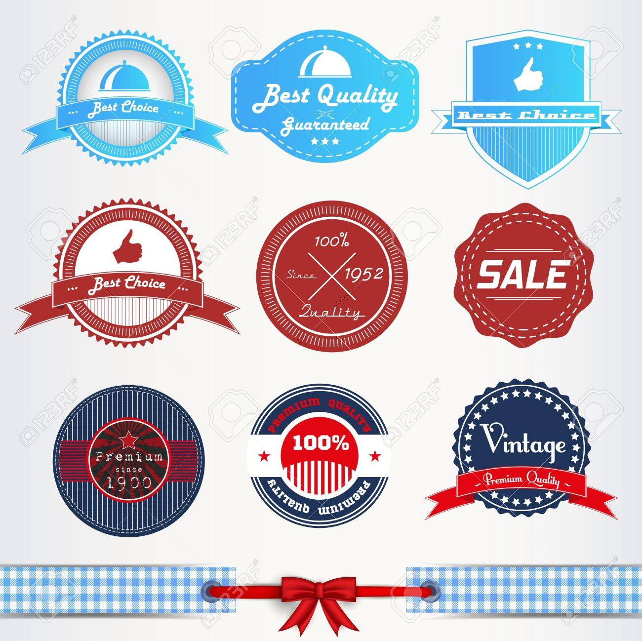 Vintage labels or badges and ribbon retro style set Stock Vector - 15829186