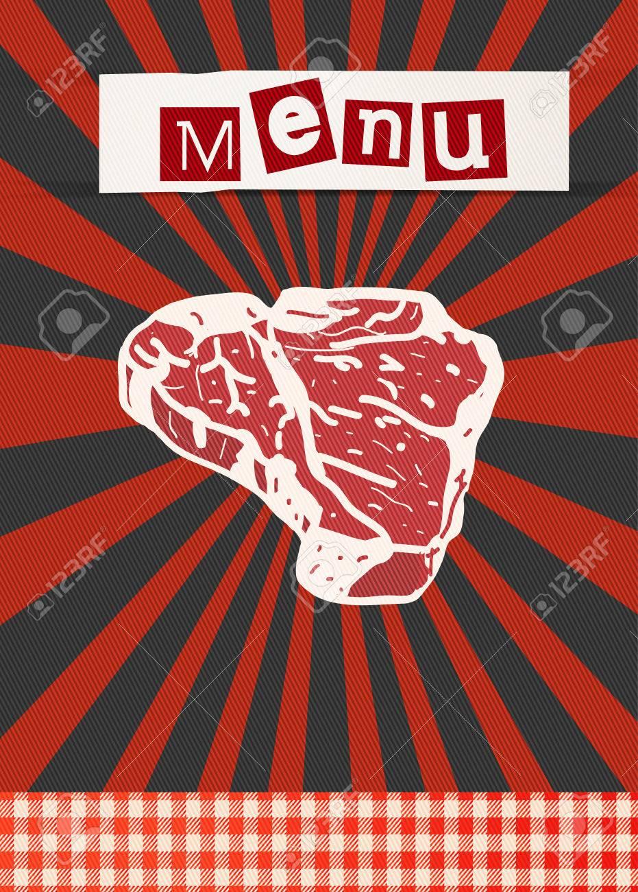 新鮮な牛肉ステーキ バーベキュー ポスター テンプレート ロイヤリティ