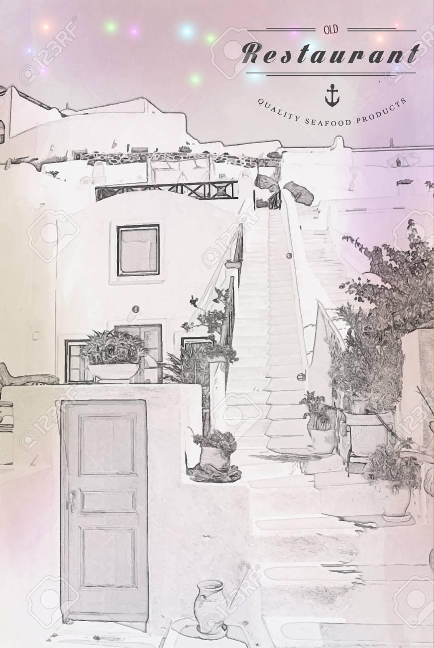 Restaurante Tarjeta Del Menú Diseño De La Plantilla Ilustraciones ...