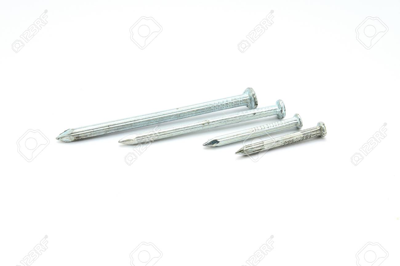 Concrete nails on white background