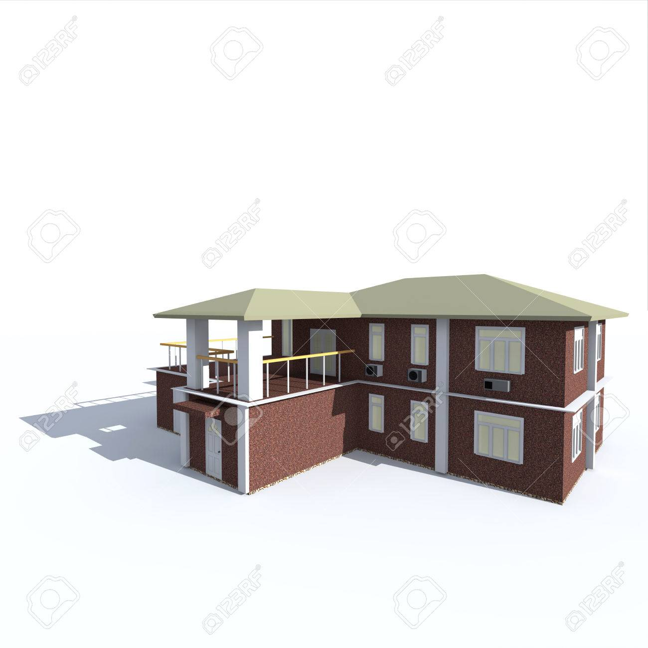 The Two Storey House Made Of Natural Stone With Balconies On Stock Photo Picture And Royalty Free Image Image 29124238