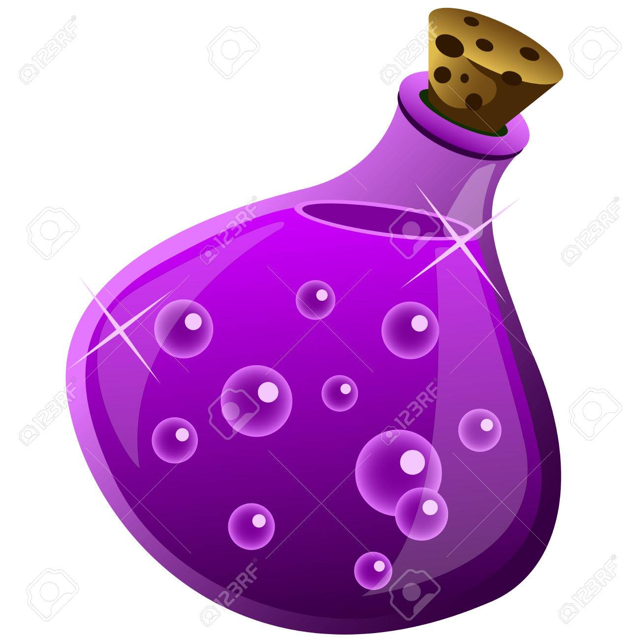 magic drink in a bottle on white background