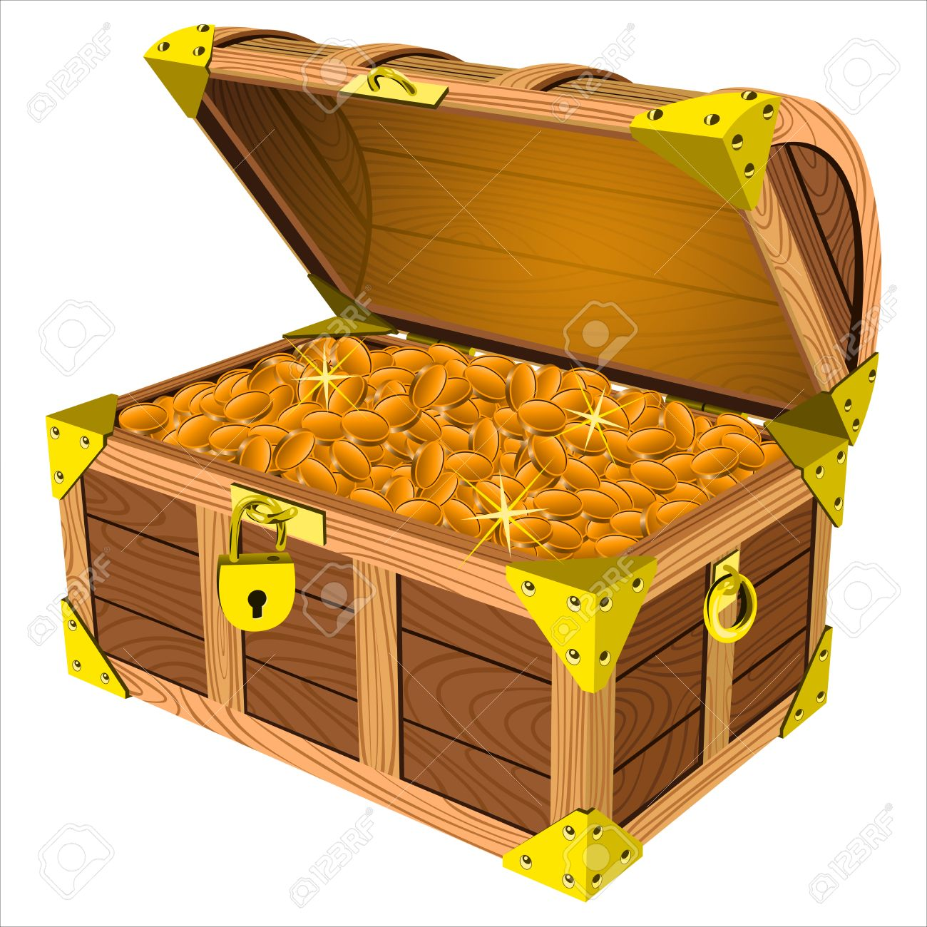 pirate a treasure chest of gold coins on a white background vector rh 123rf com treasure chest vector free download treasure chest vector silhouette