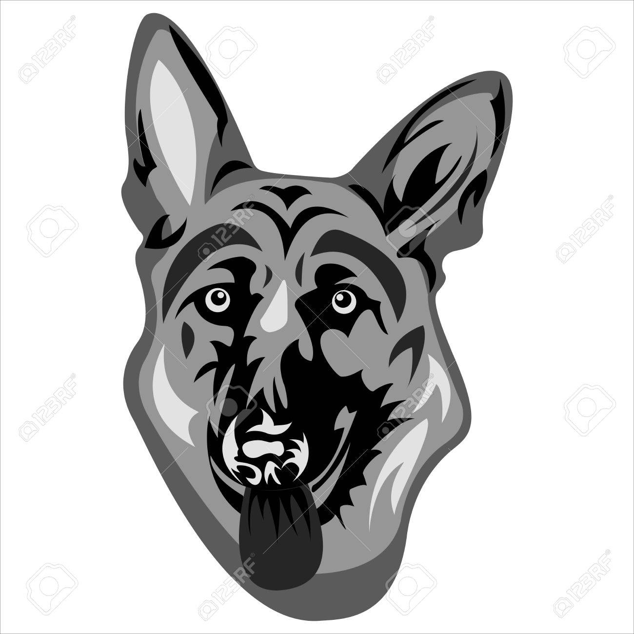 the logo with the face of a german shepherd on a white background rh 123rf com german shepherd looking dog german shepherd looks skinny
