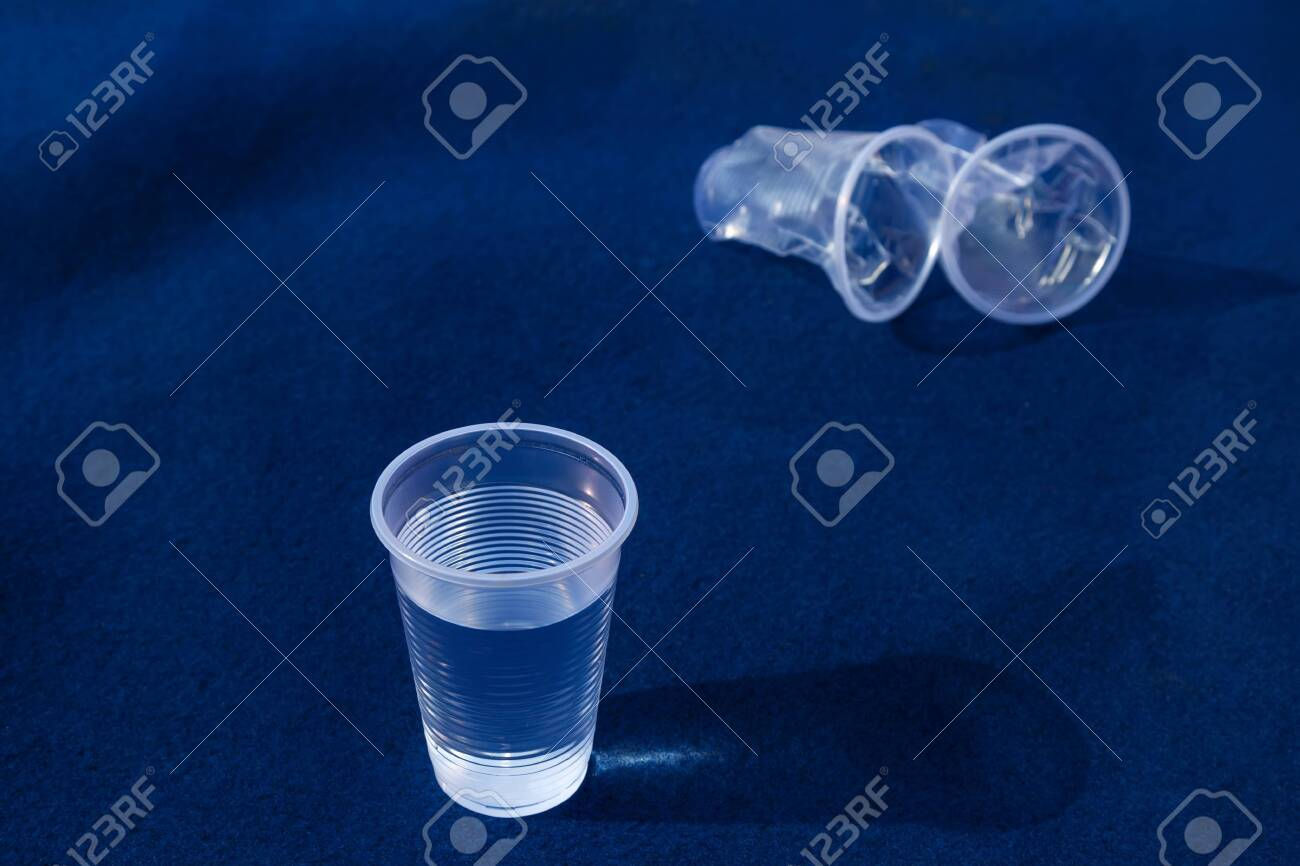 smashed cup of water