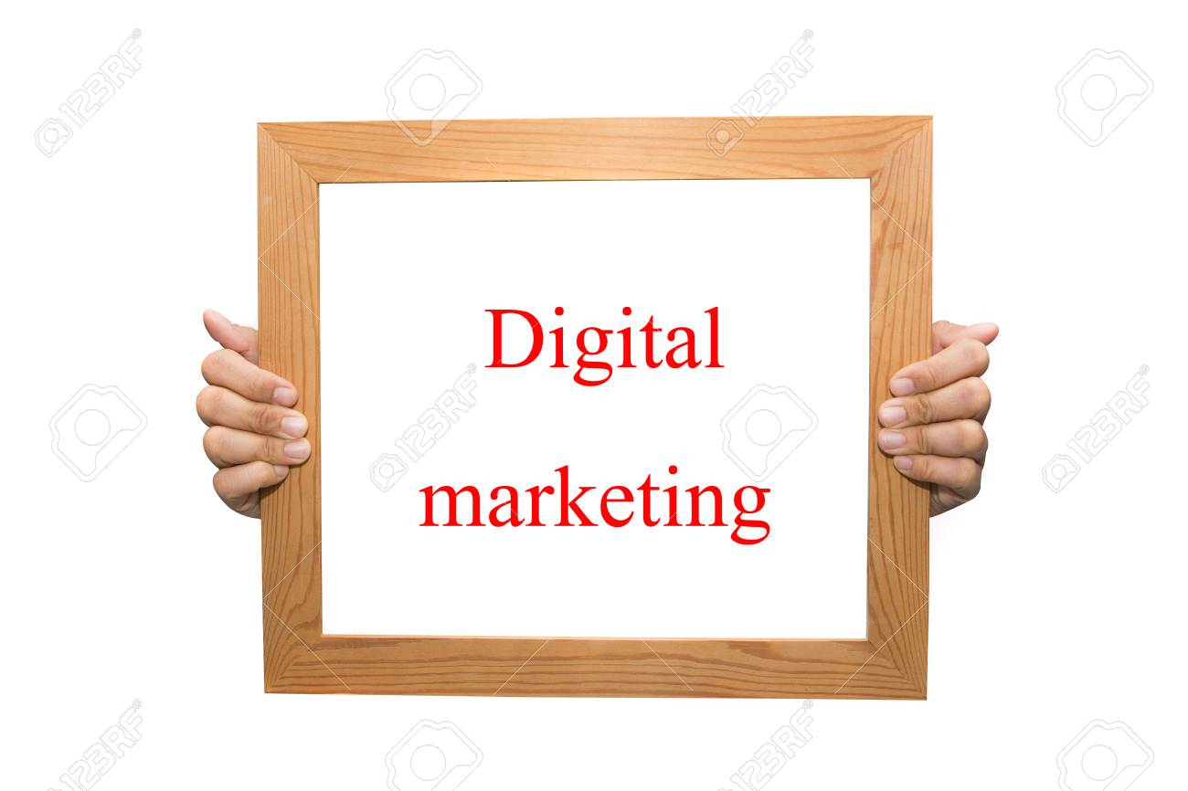 Digital marketing on a wooden board Stock Photo - 26880988