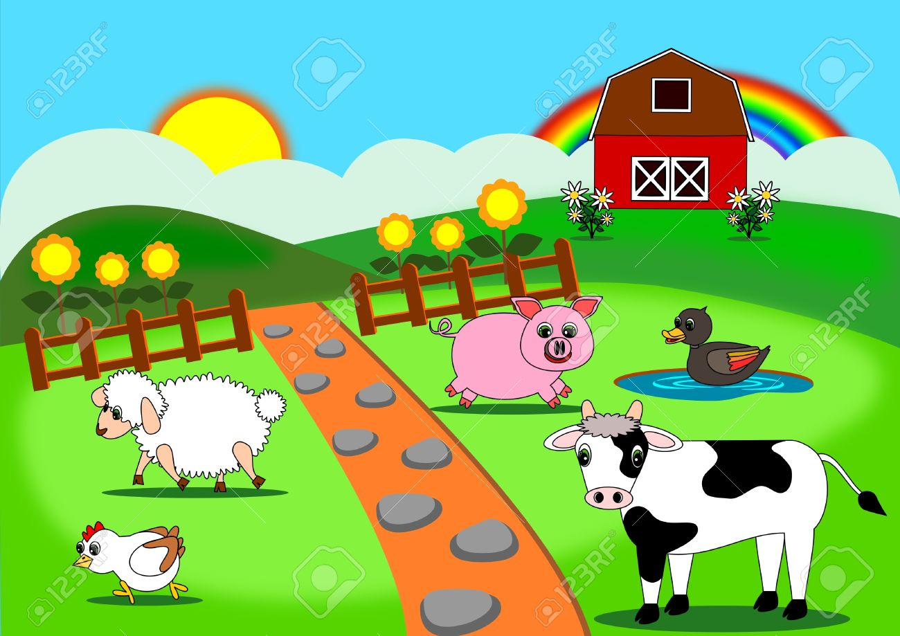 animals farm cartoon vector royalty free cliparts vectors and