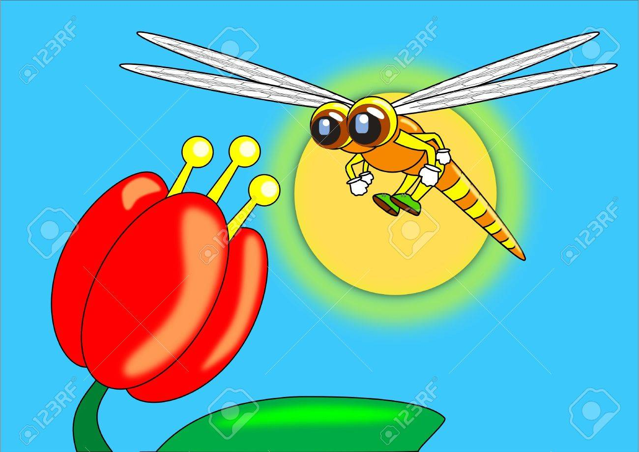 Dragonfly and lily flower cartoon royalty free cliparts vectors dragonfly and lily flower cartoon stock vector 15495454 izmirmasajfo