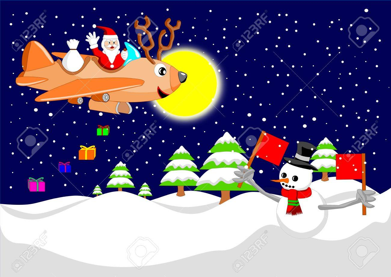 santa claus is flying with reindeer airplane royalty free cliparts