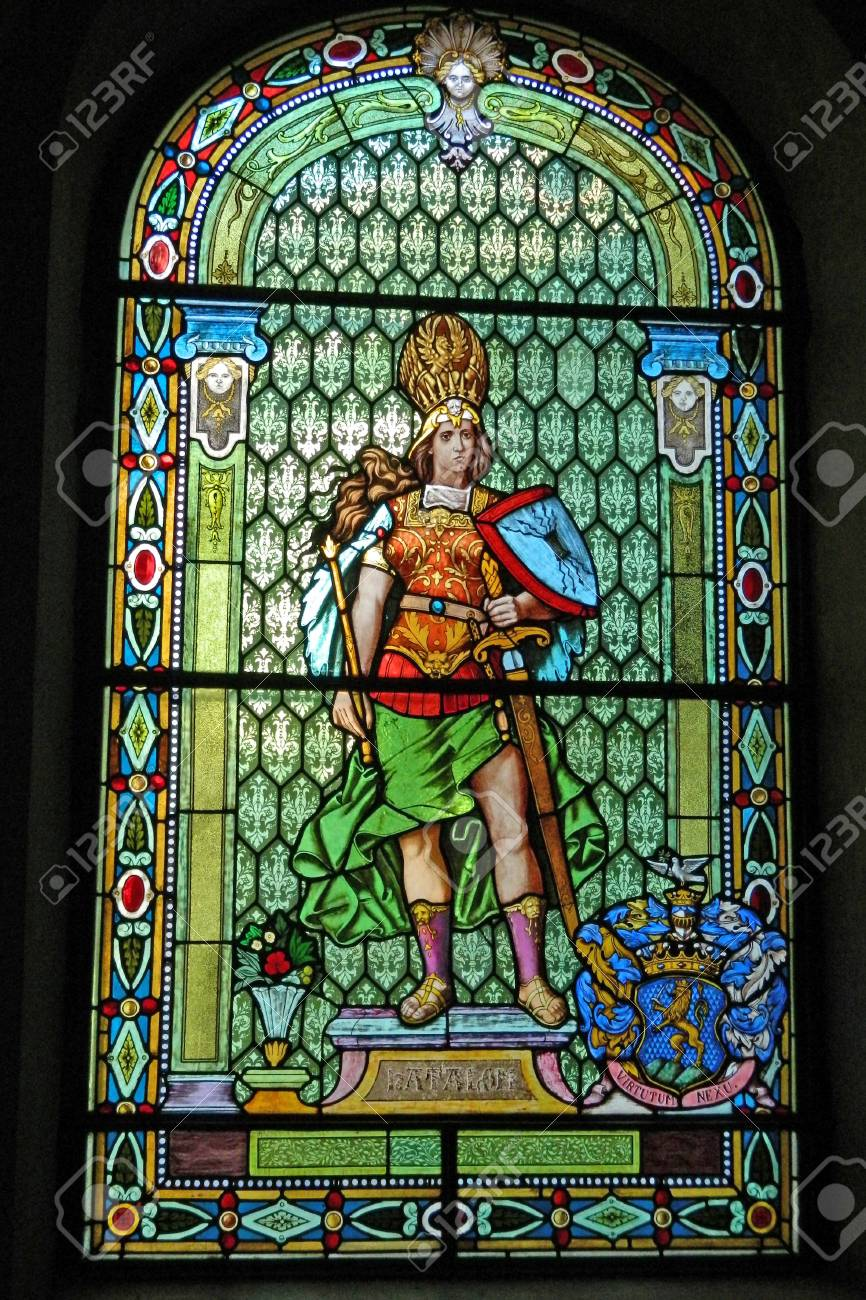 Large Stained Glass Window.A Large Stained Glass Window That Represents The Force Of Progress