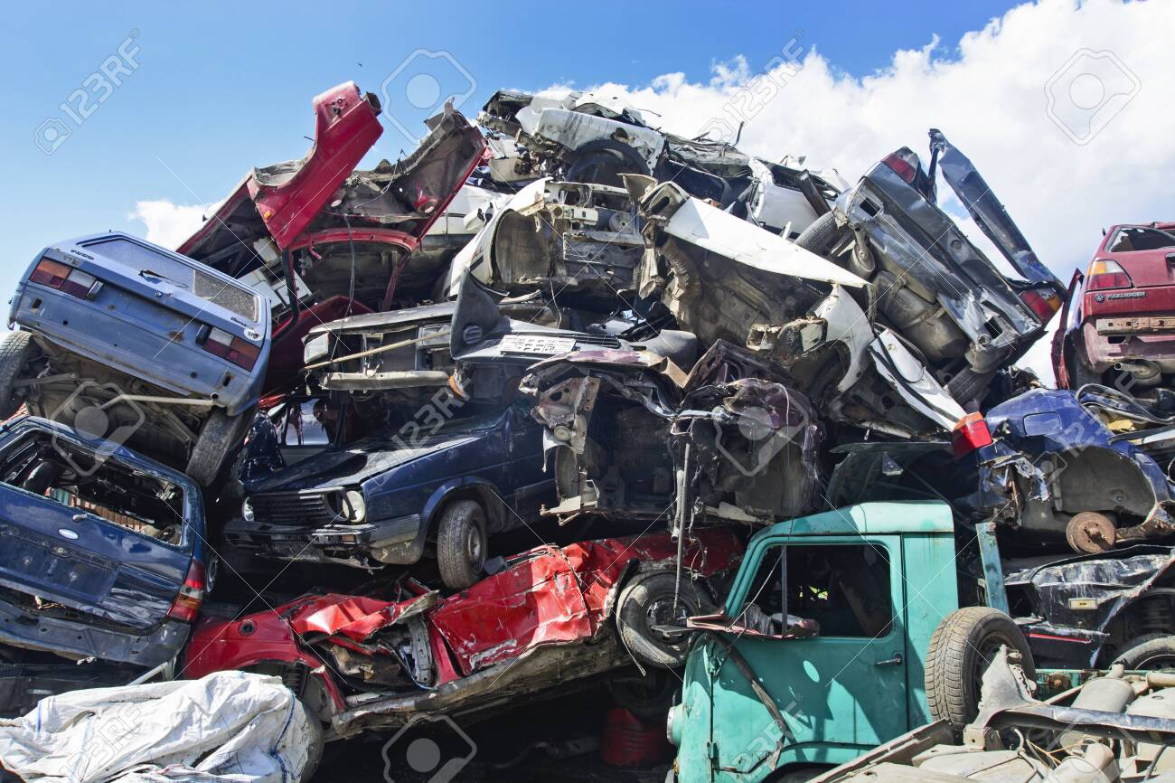 Zabalj, Serbia, Backa, June 23, 2018. Auto waste with lots of cars waiting for transportation - 140137805