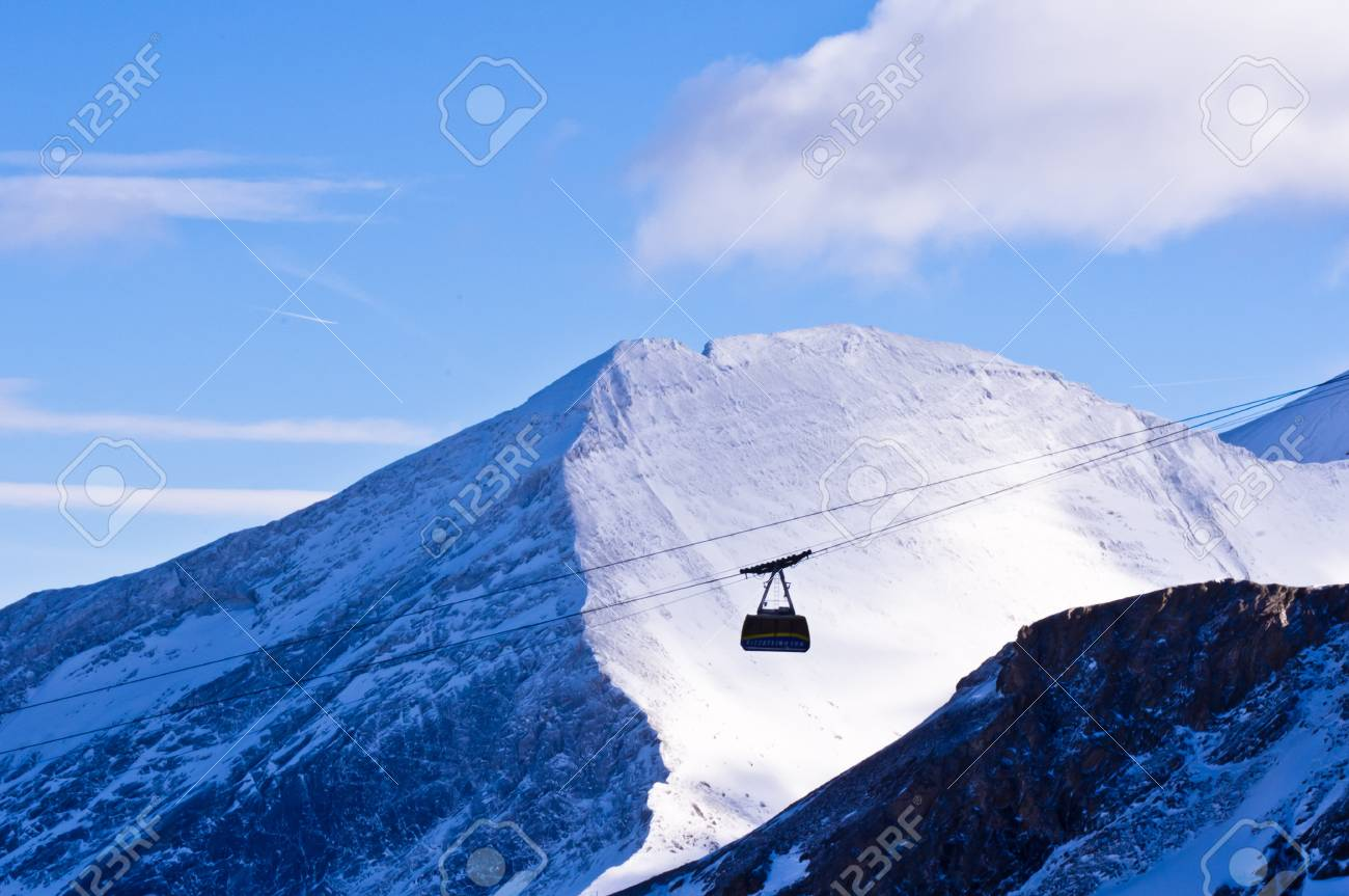Cable transportation to the top of Kaprun glacier Stock Photo - 18699098