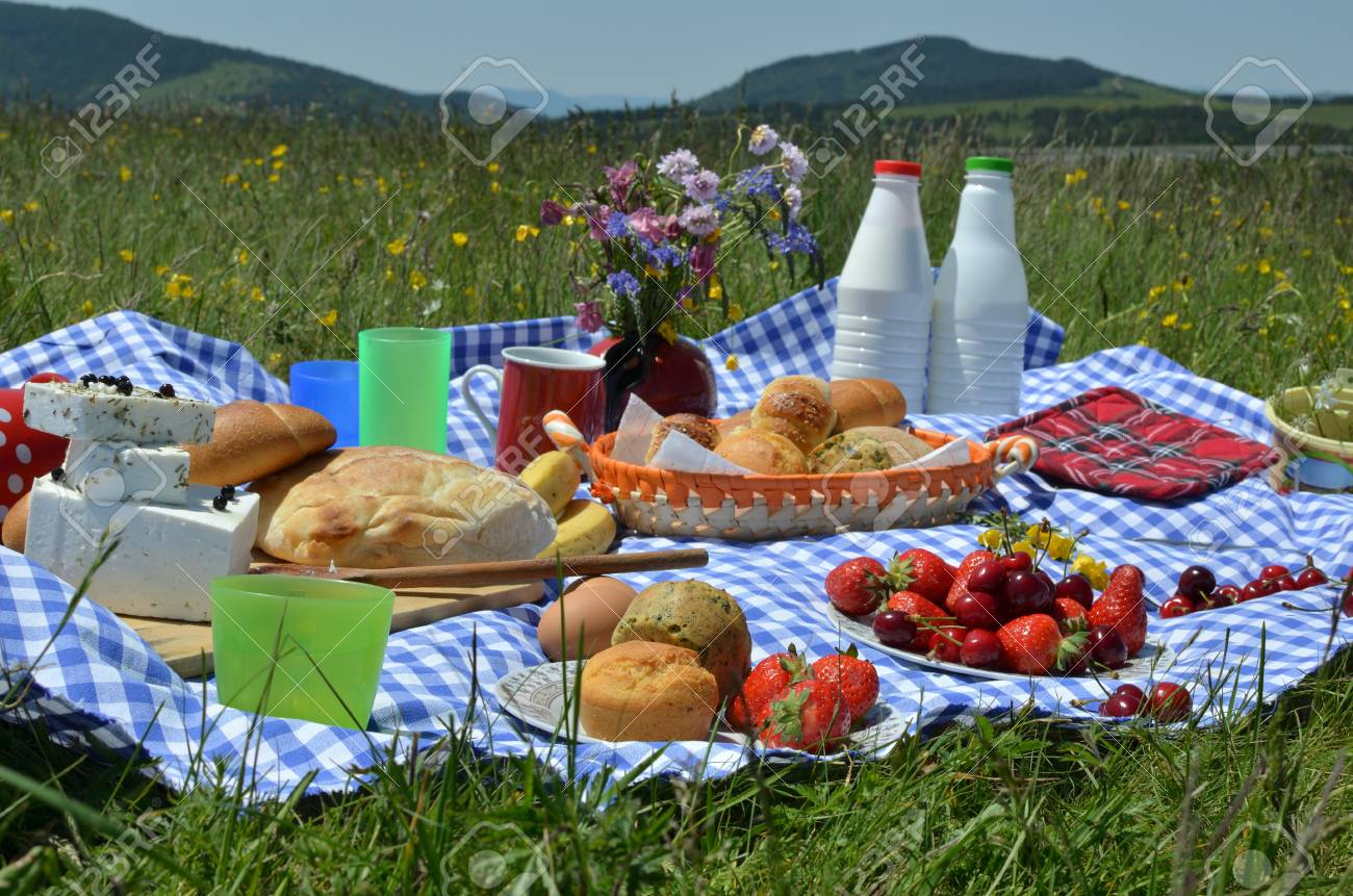 Miraculous Closeup Of Rich Picnic Breakfast Or Brunch On Mountain Meadow Beutiful Home Inspiration Aditmahrainfo