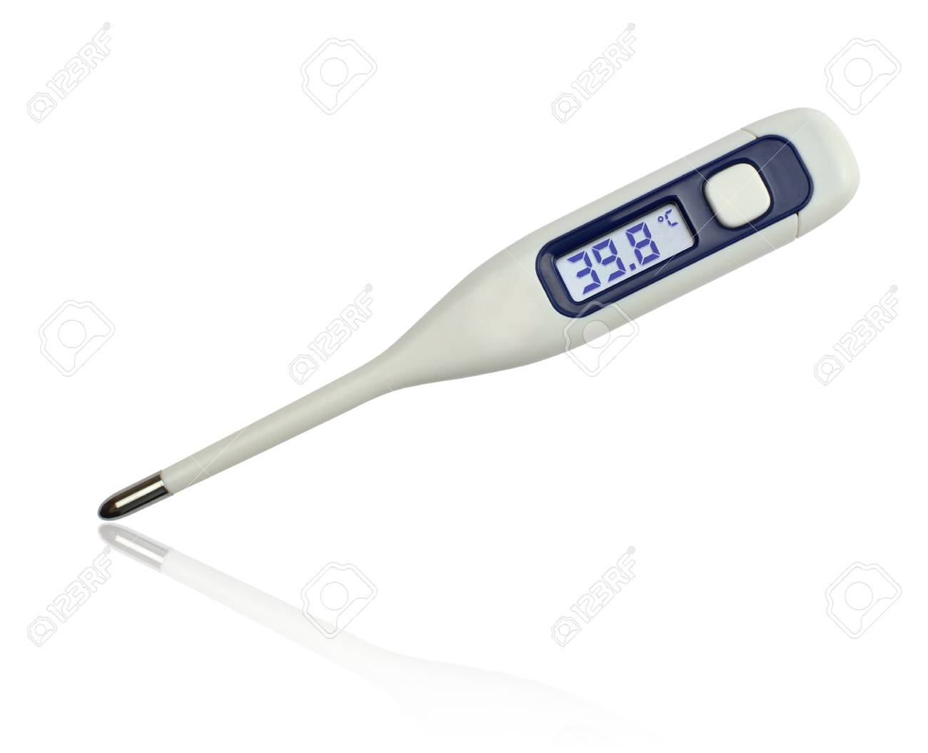 39 8 Degrees Celsius On Clinical Electronic Thermometer On White