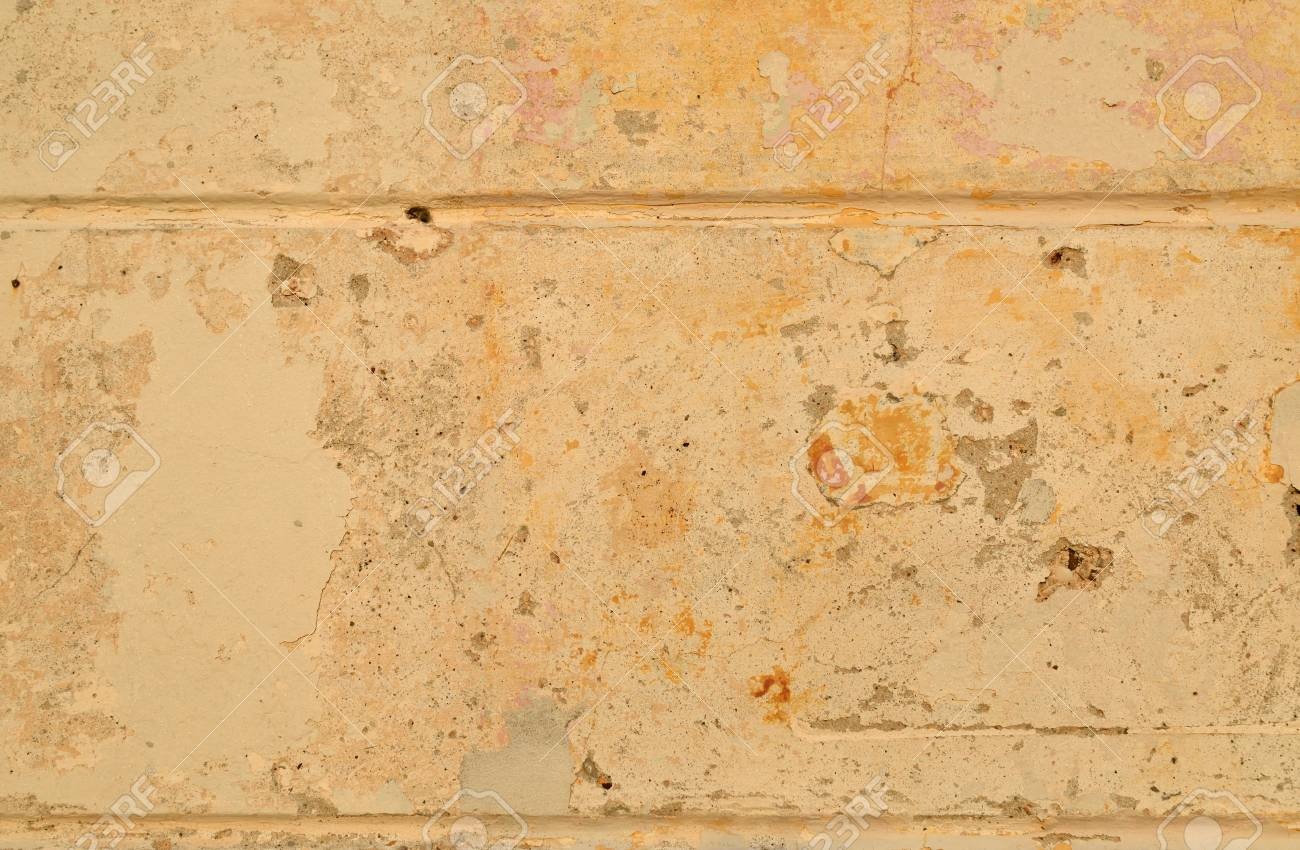 Yellow Rustic Stone Wall Of A Coastal Village House Stock Photo ...