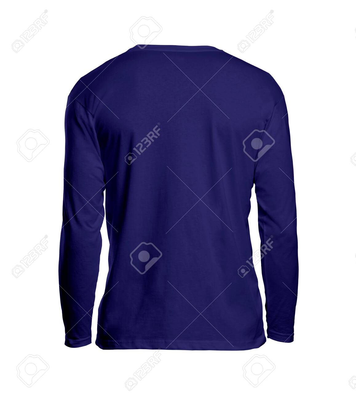 This Back View Long Sleeve Tshirt Mockups In Royal Blue Color