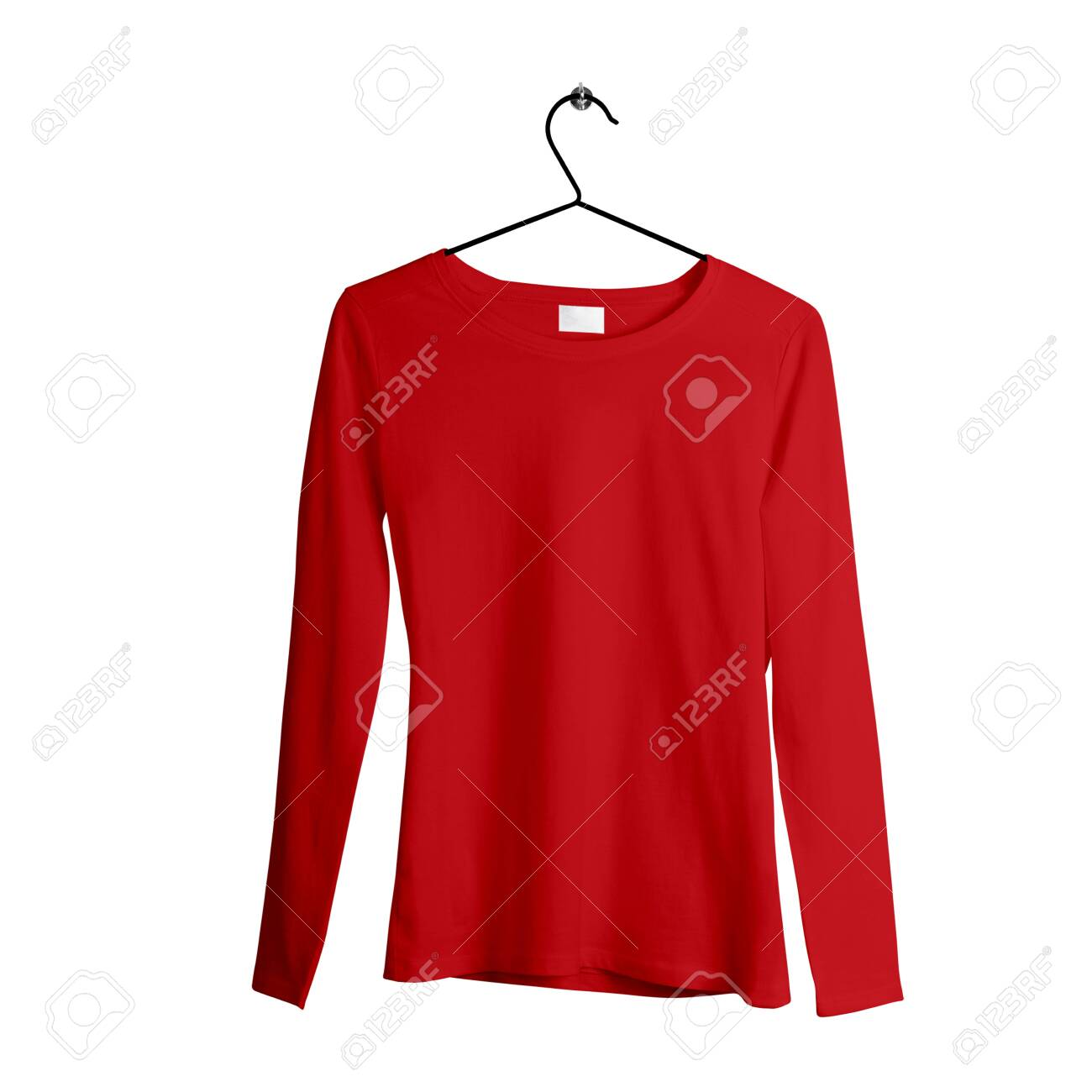 This awesome Front View Female Tshirt Mock Up With Hanger In Flame Scarlet Color is ready to use for showcasing your brand logo. - 142555444