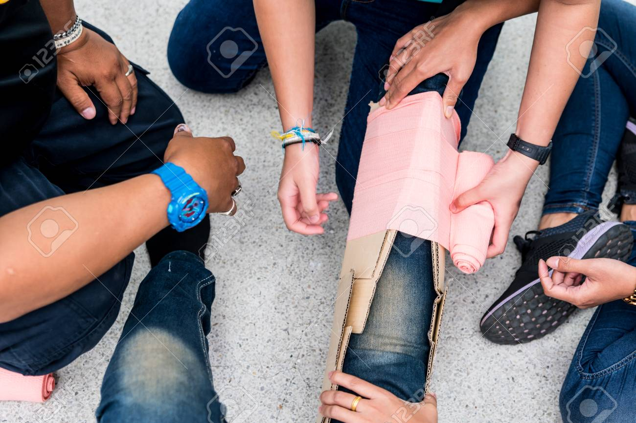 At First Aid Training Classroom Students Are Trying To Splint