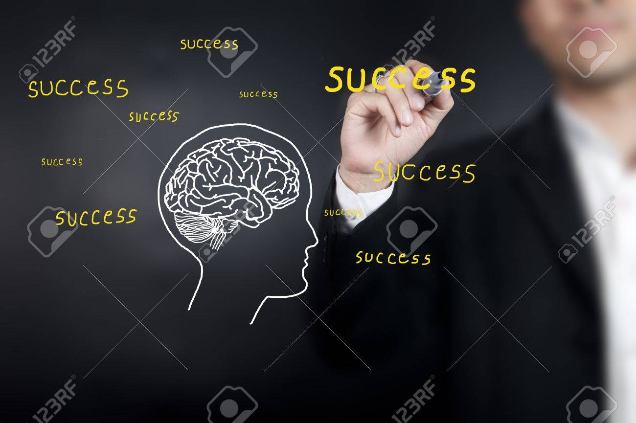Businessman drawing brain with wording Stock Photo - 11853495