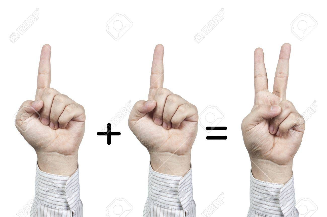 Hand symbol number 1+1=2, isolated on white background Stock Photo - 13733895