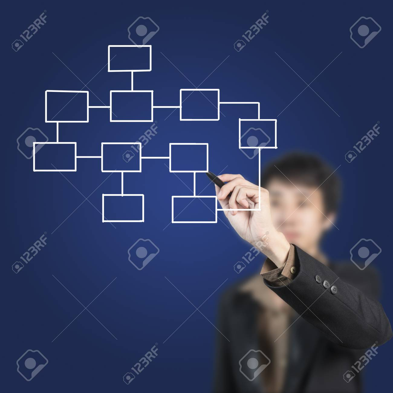 Businessman drawing connection on whiteboard Stock Photo - 14704600