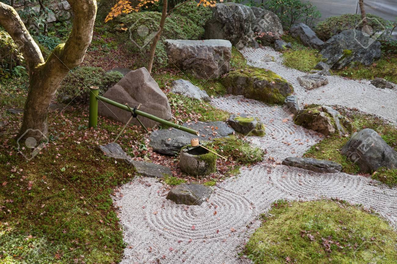 Small Japanese Zen Garden Meditation Stones At Ancient Shrine ...
