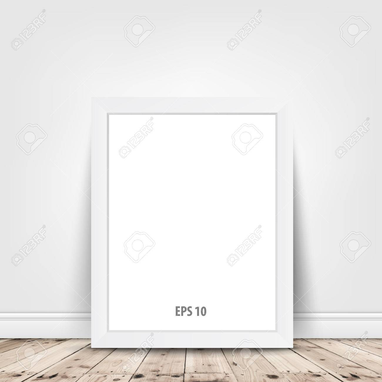 d7cdfe4abaa blank frame on white wall background. Vector illustration . Stock Vector -  37210641