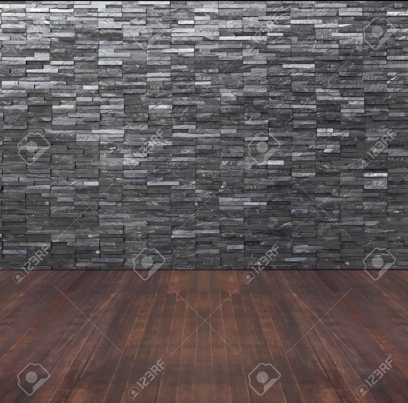 slate floor texture. Empty Room Interior With Black Slate Wall And Wooden Floor Stock Photo - 59836332 Texture